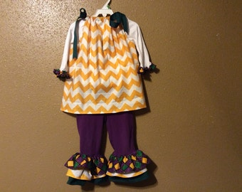 Mardi Gras Chevron Ruffle outfit