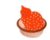 Cat Gift Cards - Orange Spotted Cat Cards - Set of 4