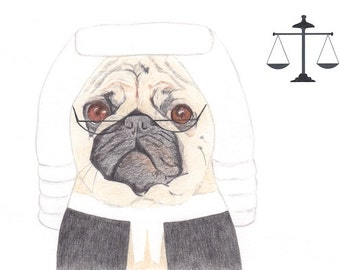 Greeting Card - Pug Dog Judge Card Funny Card