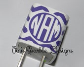 iPhone Charger Wrap Personalized - Chevron - Monogram