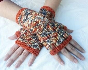 Orange and Blue Grey Multicolor Fingerless Gloves with Orange Trim