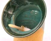 Handmade Ceramic Pig Mouth for Kitchen Salt - Beautiful Blue Color Glaze