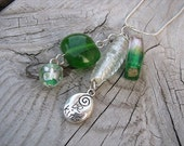 JEWELRY SALE- Glass Necklace- Cluster Drops-Green, Clear- one of a kind