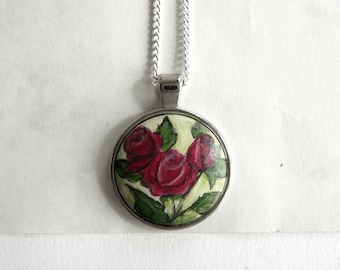 Red Rose Charm Necklace Pendant, Hand Painted Necklace, Rose Necklace Bezel, Original Small Painting, Handmade Jewelry