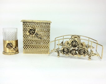 Gold Floral Filigree Dresser Set - Vintage Bathroom Set - Mid Century Vanity Set - Crystal Gold