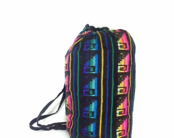 90s Tribal Backpack - Ethnic Fabric Pattern Bag - Tribal Duffel Bag - Large Woven Rucksack - Bucket Bag