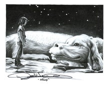 Never Ending Story Falcor and Atreyu Drawing A3 Print by Coral Briglia (Signed by Noah Hathaway)