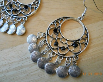 Silver chandeliers with Silver Disc Dangles and Black Rhinestones