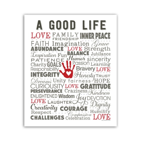 Words Of Inspiration A Good Life Poster By Annegarrisonstudio