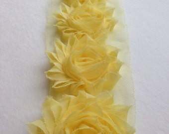Soft Yellow Chiffon flower shabby frayed rosette