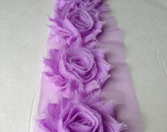 Pansy purple chiffon flower shabby frayed rosette