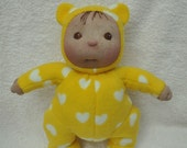 "SALE! Fretta's Sock Baby in teddy bear costume. 12"" / 30 cm tall Soft Sculptured Baby Doll. Child friendly soft Baby Doll."