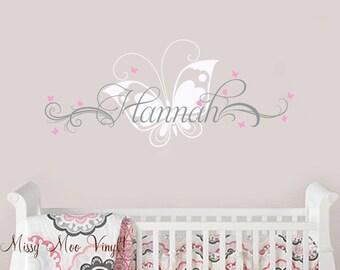 Vinyl wall decal Custom Name with Flourish Swirls and Butterflies baby girl teenn children