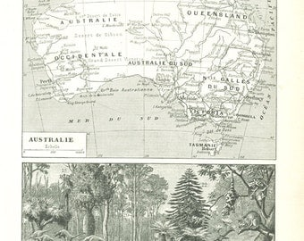 Vintage USA Map Of The United States Of America French - Us map 1922