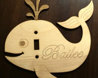 Light switch plate. Cute whale. Kids bedroom