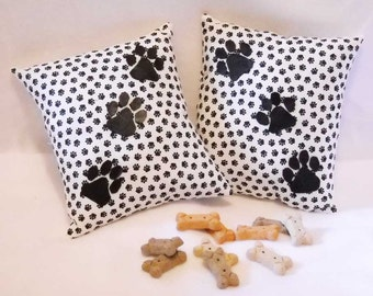 Dog Paw Print Pillows Pair - Dog Lover Pillows - Small Black and White Pillows