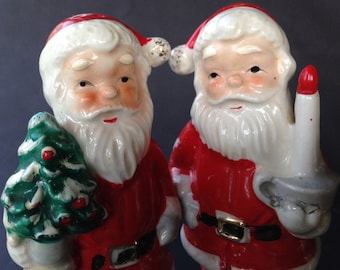 Vintage Santa Salt and Pepper Shakers, Ceramic, Christmas in the 1950s