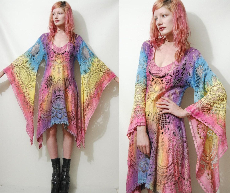 Lace Dress Ombre Rainbow Festival Bell Angel Sleeve Tie Dye