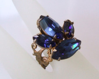Blue rhinestone adjustable ring - Recycled cobalt crystal earring ring