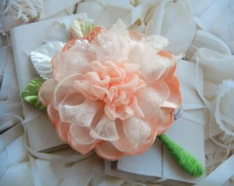Peach Peony Corsage, Peach Fabric Flower, Peach Bride, Peach Wedding, Lapel Flower, Peach Boutonniere
