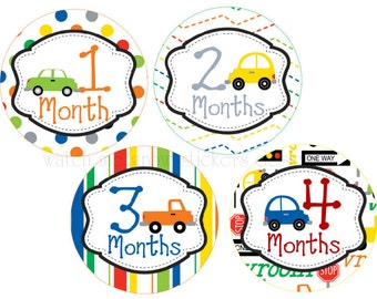 Baby Month Stickers Boy Monthly Stickers Cars Baby Monthly Stickers Milestone Stickers Month Stickers Monthly Baby Stickers Boys