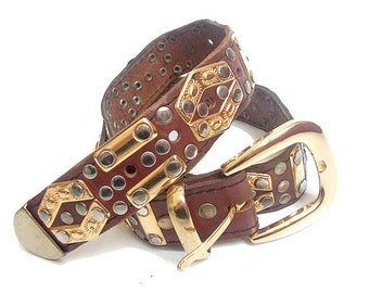 90s BELT  leather and metal