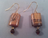 Picture Jasper Metallic Brown Bi Cone Earrings Gold Plated Ear Wires SDC4