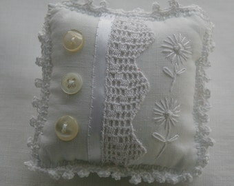 Ivory Linen and Lace Pincushion - upcycled and embroidered vintage linen