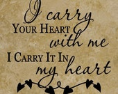 13x13 Ceramic Tile with the quote I carry your heart with me I carry it in my heart. Valentines Day Gift