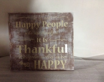 12x12 Thankful People Wooden Sign