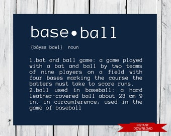 Baseball Definition   - Baseball Decor - INSTANT Download PDF 8x10