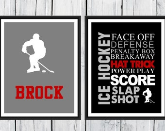 ICE HOCKEY  Word Art Print - 2 Piece Set-  Custom Colors and Sizes - Sports Decor - CANVAS Available
