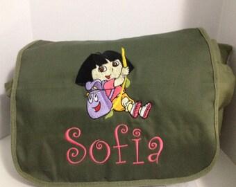 Personalized Olive Canvas Messenger Bag - design your own messenger bag - unique messenger bag - one of a kind messenger bag