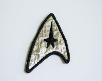 Star Trek Cosplay Embroidered Patch - Silver Starfleet Commander Uniform Badge Easy Halloween Costume