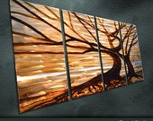 "Original Handmade Metal Wall Art Modern Abstract Painting Sculpture Indoor Outdoor Decor "" Fallen Leaves "" by Ning"