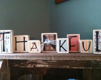 Thankful Home Decor - Wood Word Blocks Letter Sign