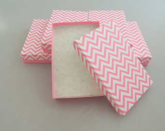 "10 5.5""x3.5""x1"" Hot Pink Chevron Cotton filled Jewelry Presentation Display Gift Boxes Craft Retail Chevron design Party Necklace Boxes"