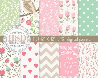 Floral Digital Paper - Shabby Chic Digital Paper - Pink Mint Beige Digital Papers - Digital Scrapbook Paper - DP143