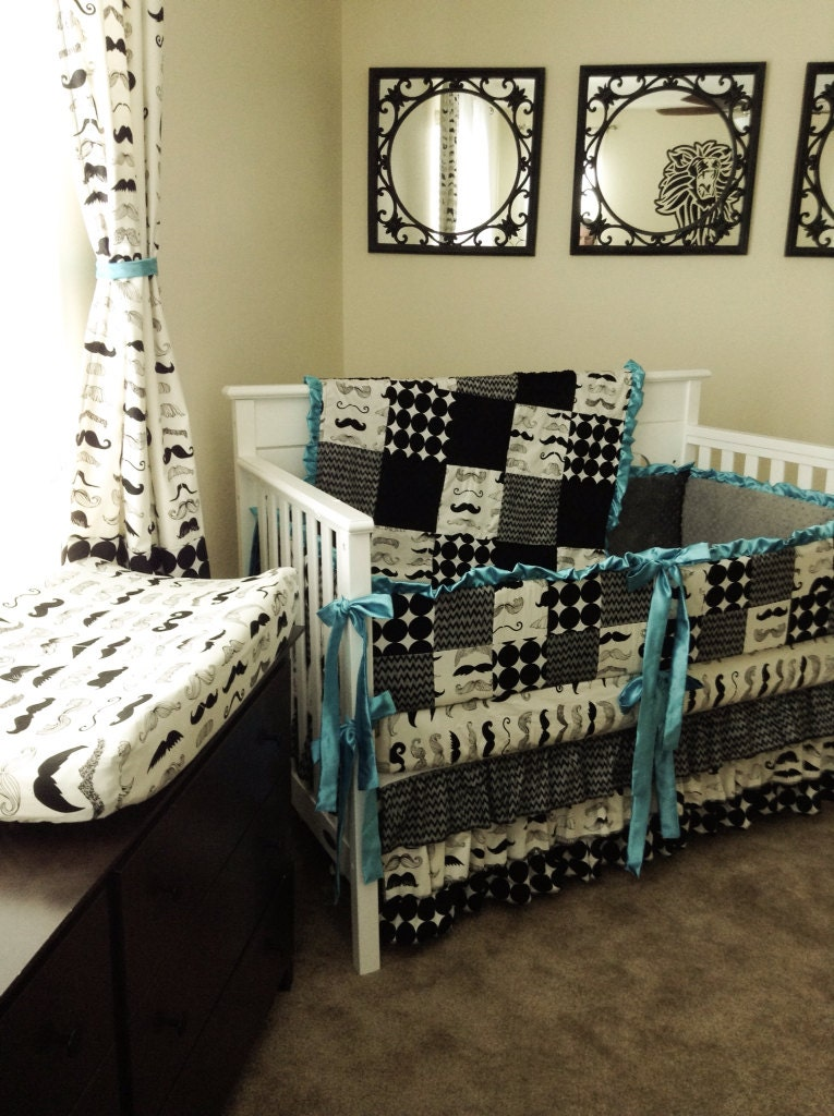 Black Satin And Minky Baby Bedding Sets