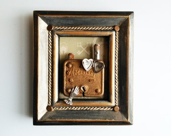Original Assemblage, Love Locket, Lock and Key