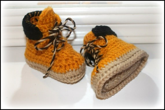 Crochet baby work boots construction worker boots Timberland