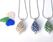Sea glass locket - choice of colors - sea glass necklace - filigree locket pendant, sea glass pendant, silver teardrop locket