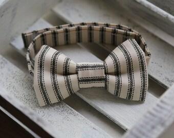 Black and Cream Ticking Stripe Bow Tie (Black and Cream )