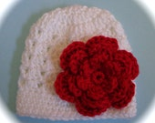 Crochet baby beanie hat newborn  0 3 6 9 12 month red or white hat with flower photography photo prop Christmas Valentines day