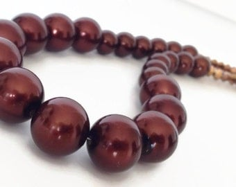 Brown Pearl Necklace, Chocolate Brown Pearl Necklace, Pearl Strand Necklace, Brown Necklace, Glass Pearl Necklace, Faux Pearl Necklace