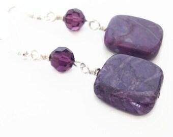 Purple Turquoise Earrings, Purple Stone Earrings, Purple Dangle Earrings, Geometric Earrings, Long Purple Earrings, Radiant Orchid Jewelry