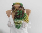 Crochet Scarf Scarflette Neck Warmer Green Brown Crochet Wrap Chunky Infinity Scarf Multicolor  Cowl Neck