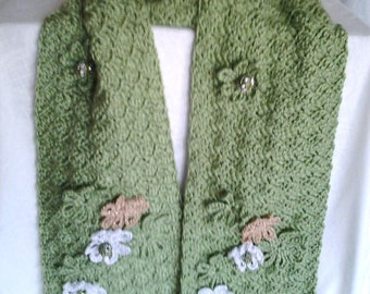 Fern Green Crochet Scarf adorned with flowers and beads