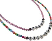 Girls Personalised NECKLACE Any Name Shimmery Acrylic and White Letter Beads Pink or Multi-colour