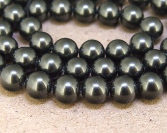 """8mm High Luster Black South Seashell Pearl beads Round Shell Pearl Full One Strand 15.5"""" in length 48beads Per Strand LB1029"""